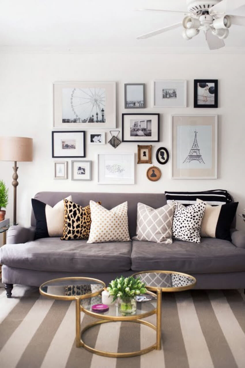 A gallery wall looks modern and can also show an inspirational message!