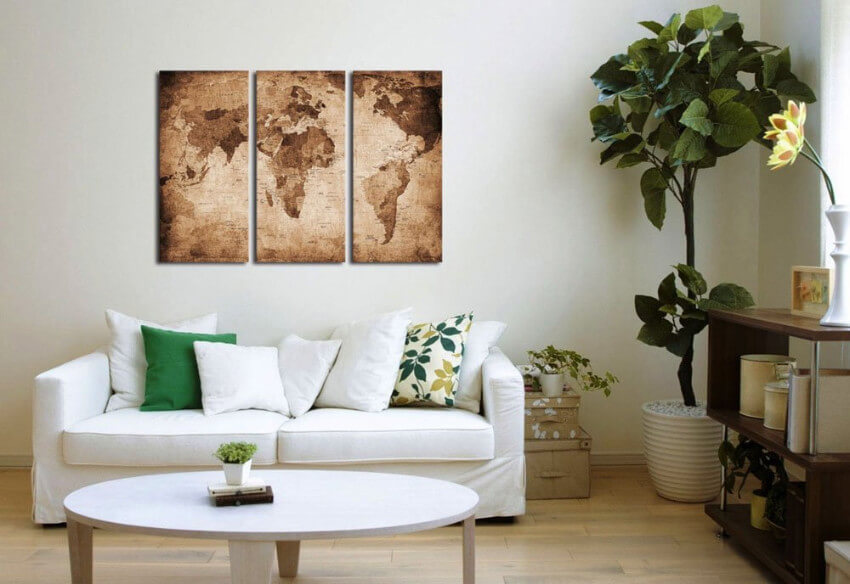 A vintage map can fill your living room with style!