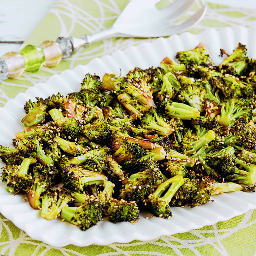 Roasted broccoli with soy sauce.