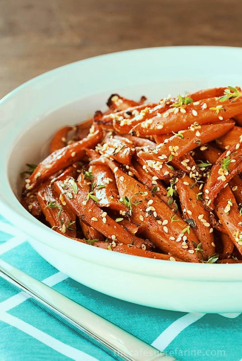 Maple roasted carrots.