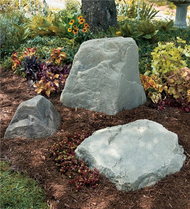 Fake rocks are great for decor and hiding eyesores.
