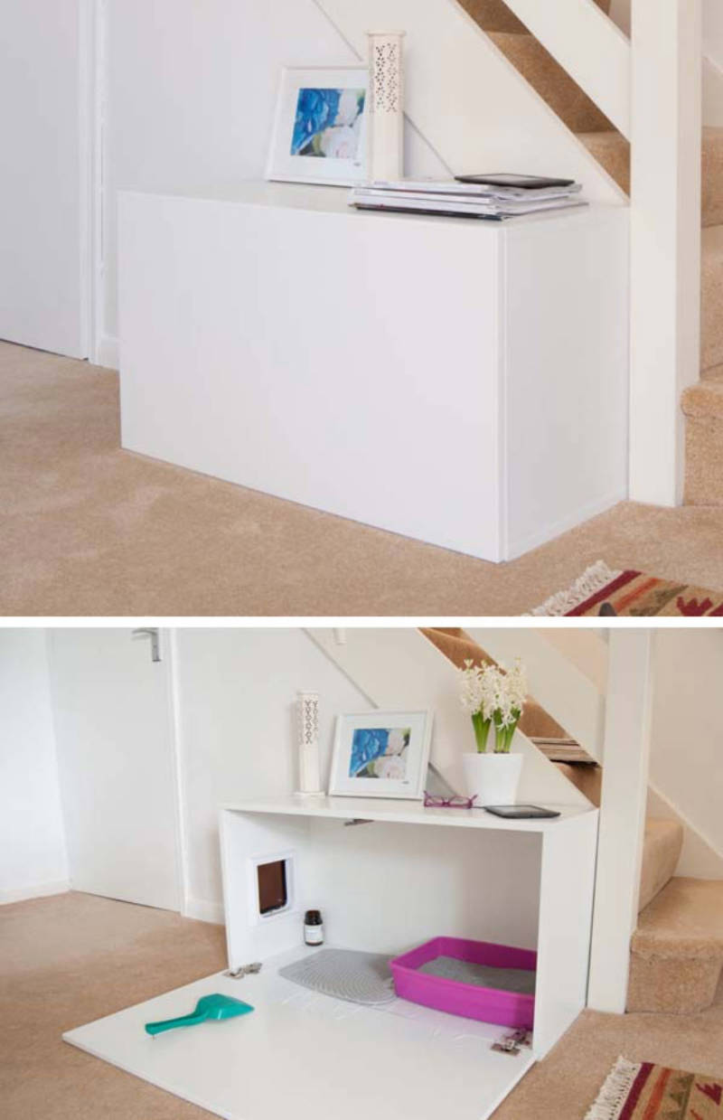 There are many ways to conceal litter boxes!