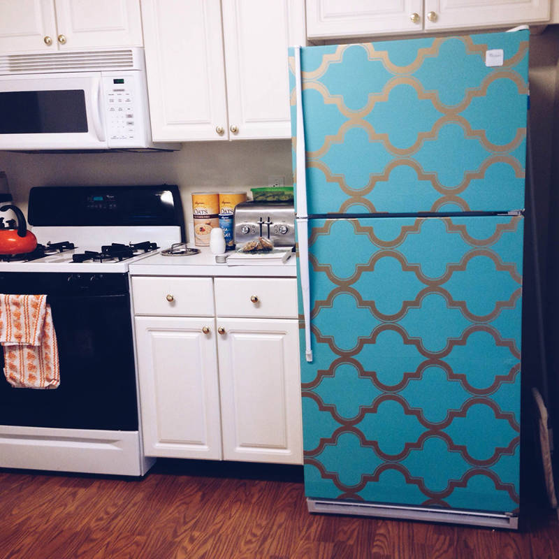 Removable wallpaper can save an old fridge!