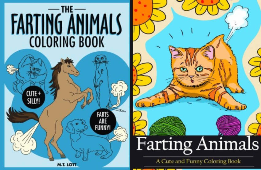 Don't know what to give as a gift to someone? Give them some relaxing time with these farting animals coloring books