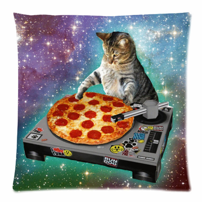 Decorate your living room with a pillowcase of a cat DJ-ing on a pizza.