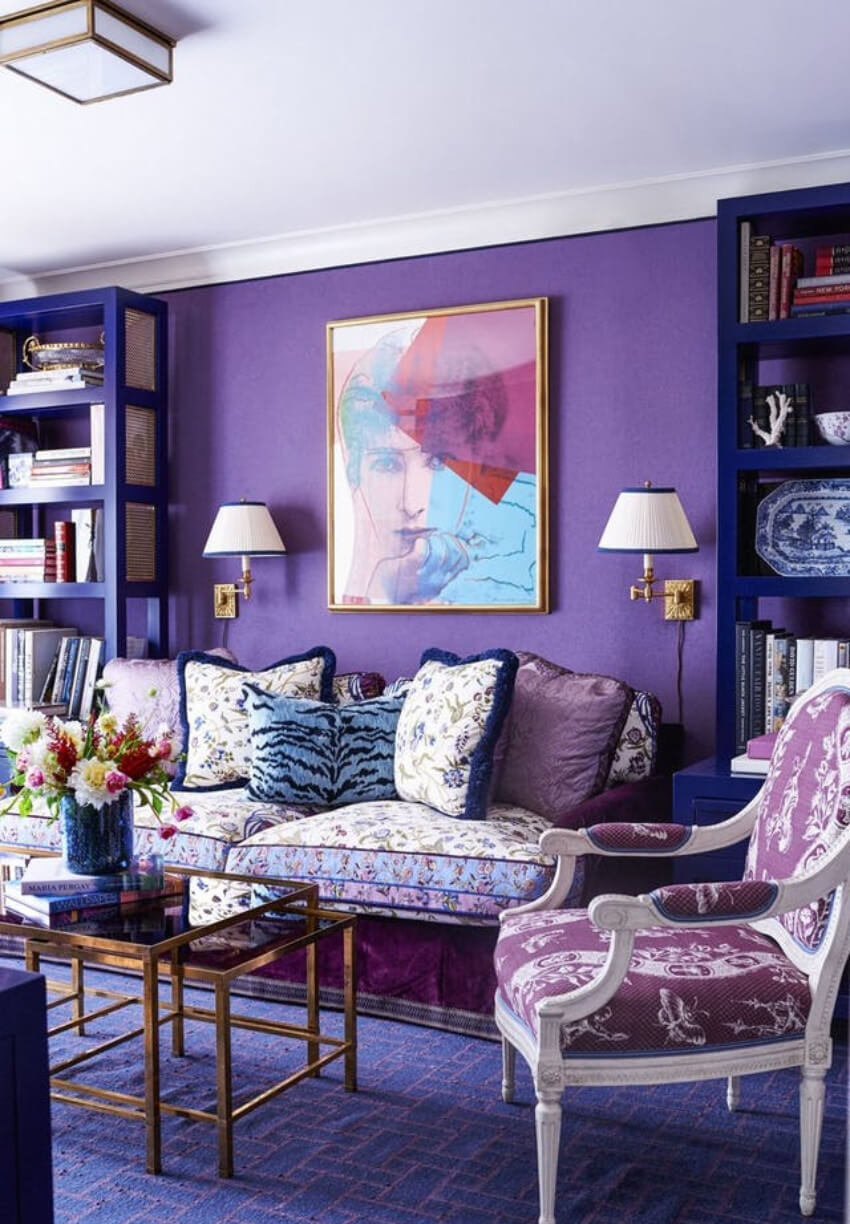 A full living room with all elements in Ultra Violet hues!