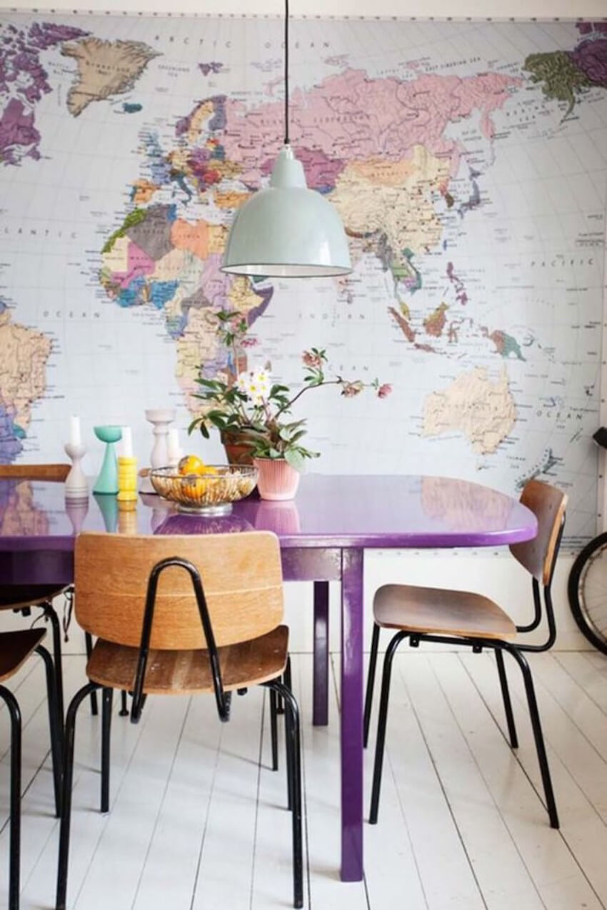 How great is this purple dining table? Full of style!