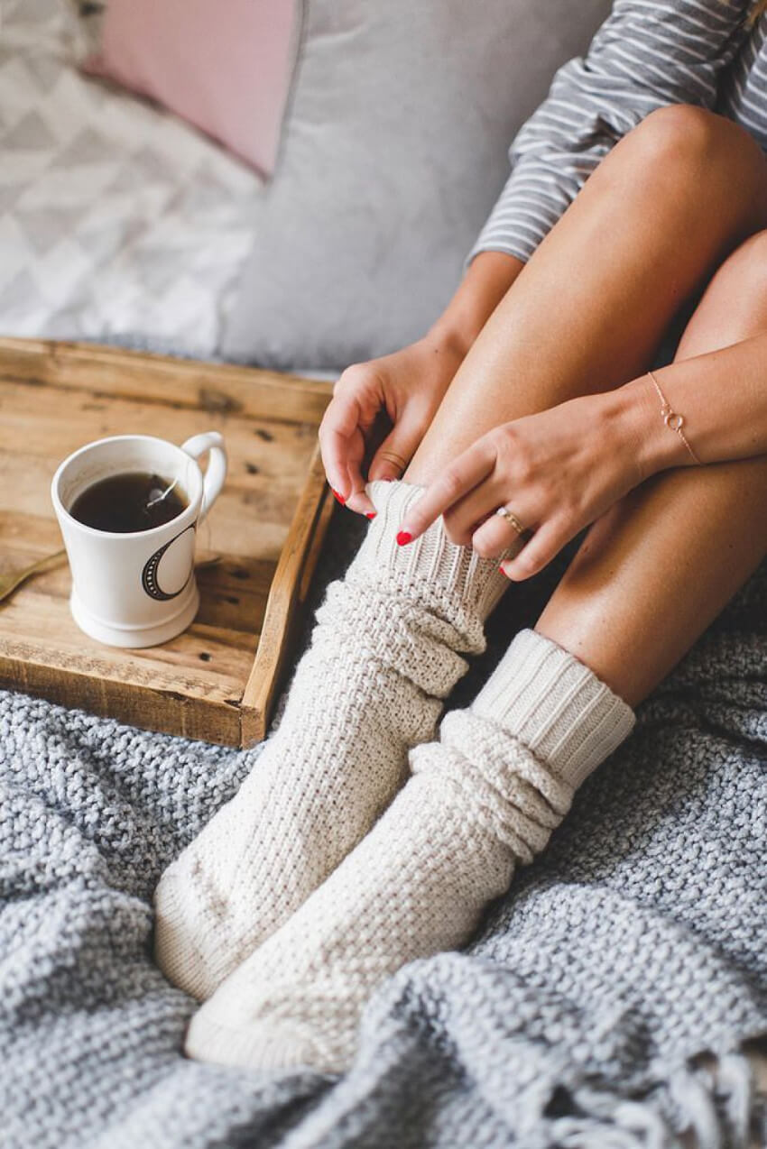 Socks will keep your toes warm and comfortable!