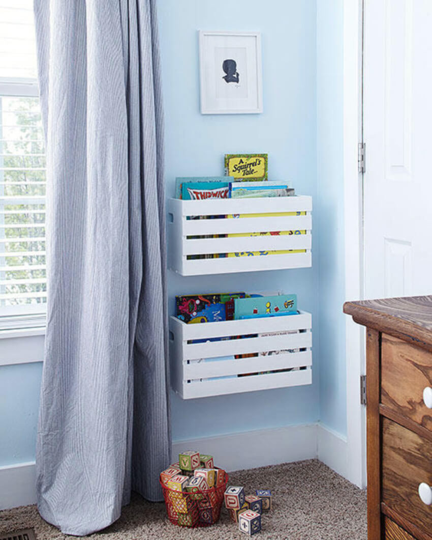 Wall storage will be great for the kids' room.