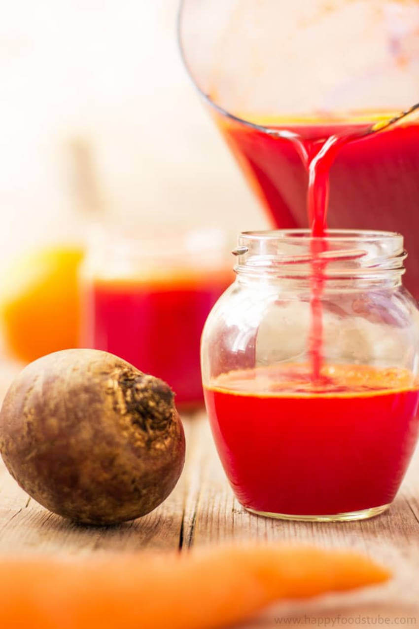 Delicious and healthy mix of fruit and vegetable juice.
