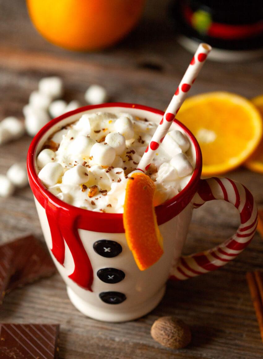 Orange zest gives a unique flavor to your hot chocolate!