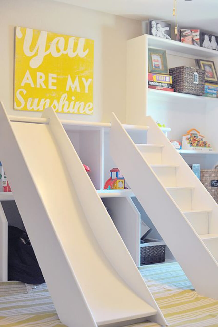 A slide is a must in any dreamy playroom!