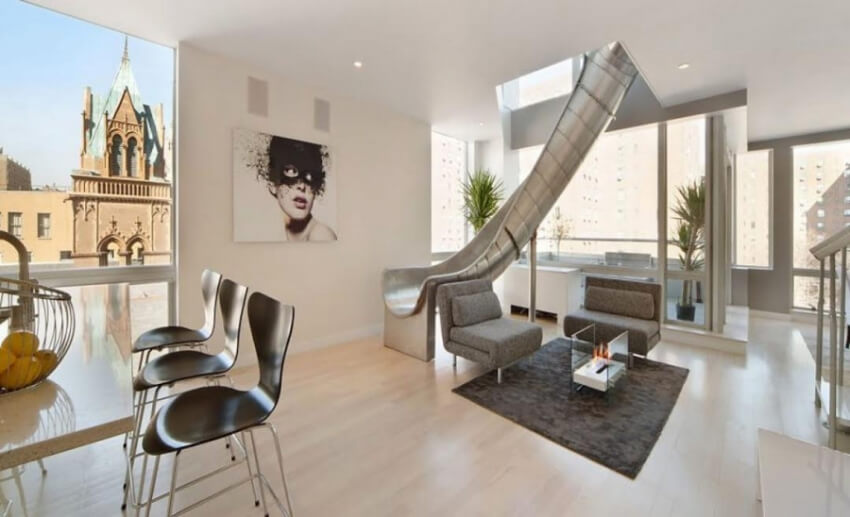 This very stylish slide is a great addition to any living room.
