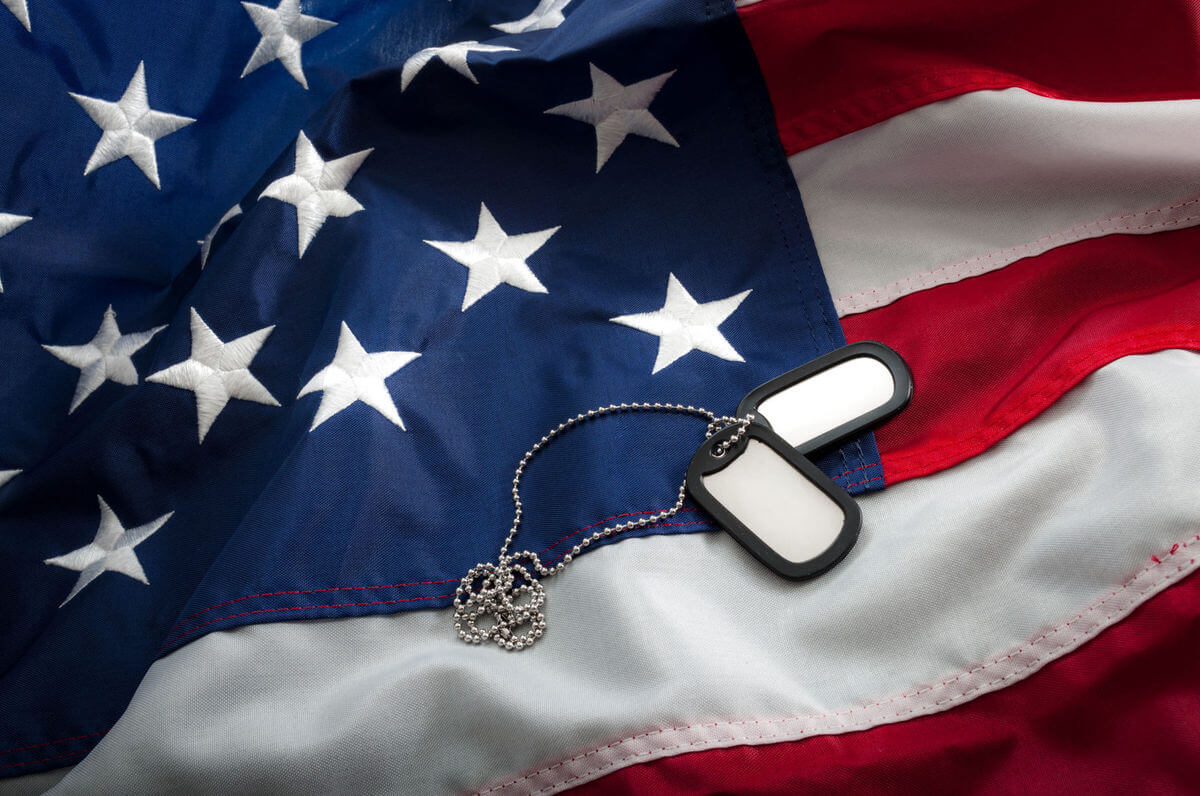Identification tags and American flags