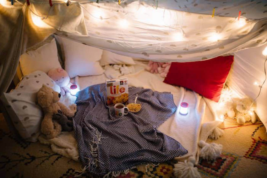 Fill the fort with some teddy bears and your kids will stay there for a long time!
