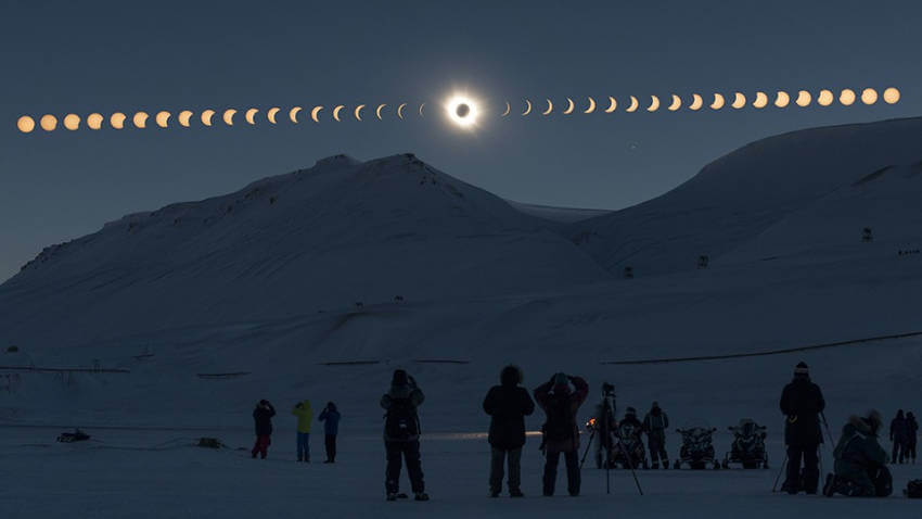A beautiful view of people enjoying the solar eclipse!