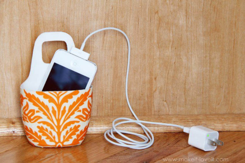 This phone holder can be made either with fabric or spray paint!