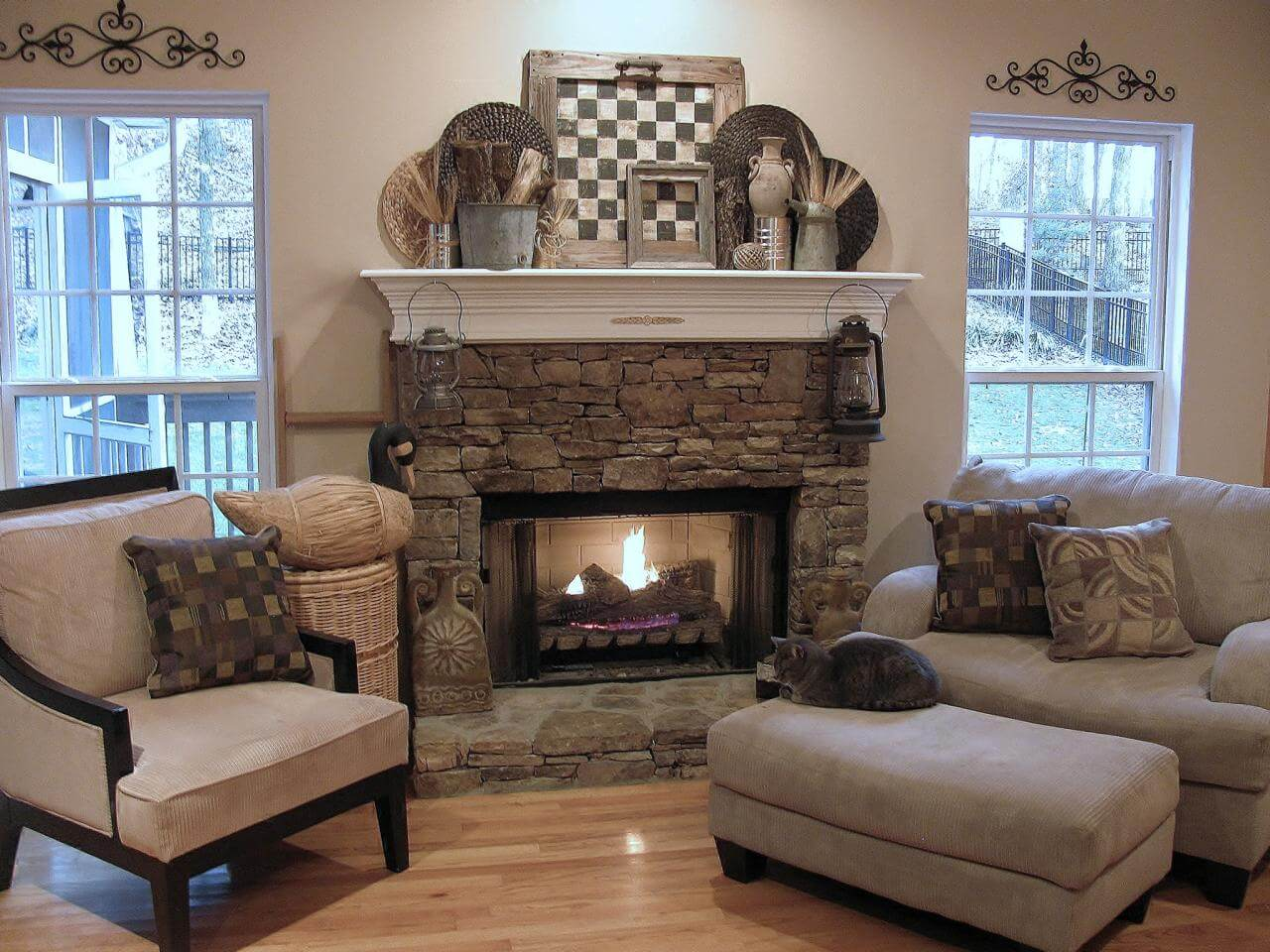 The fireplace mantel is ripe with decor options