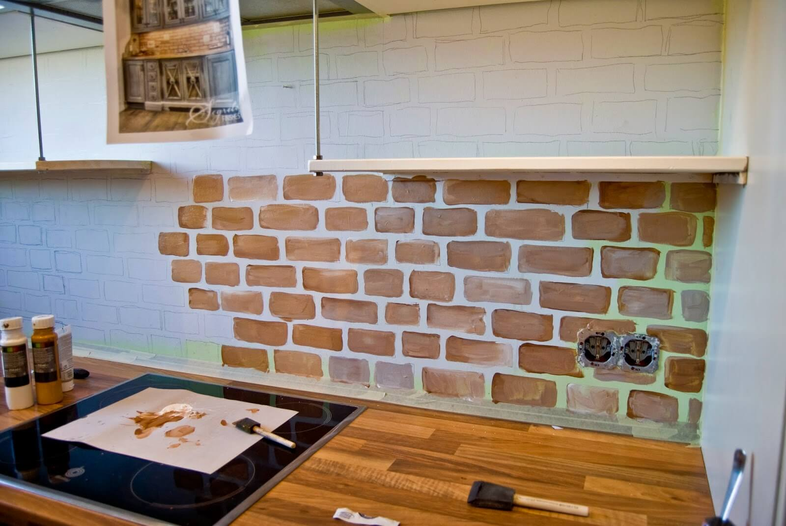 Faux brick still looks pretty original in the kitchen