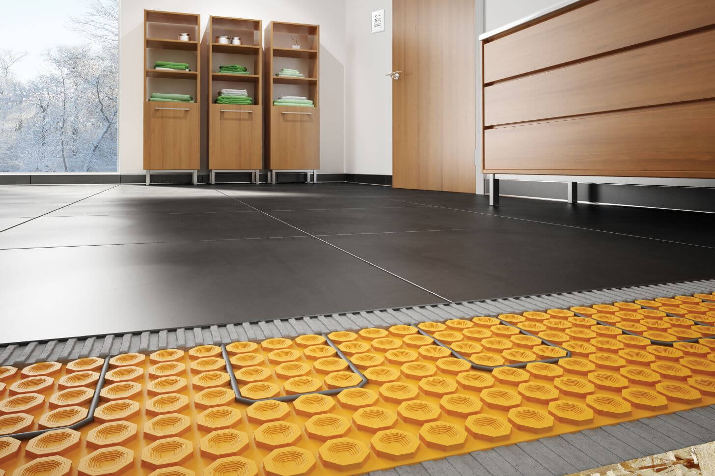 FOr the most relaxing early morning bathroom visits, try heated tile