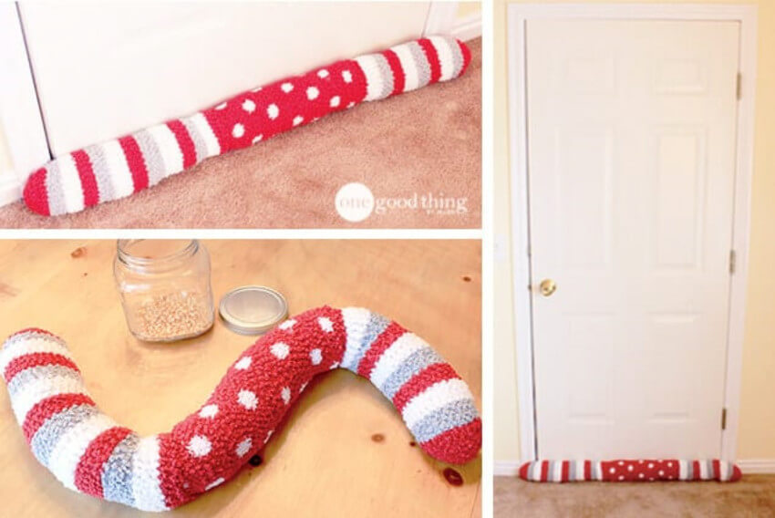 You can make a draft stopper out of old socks.