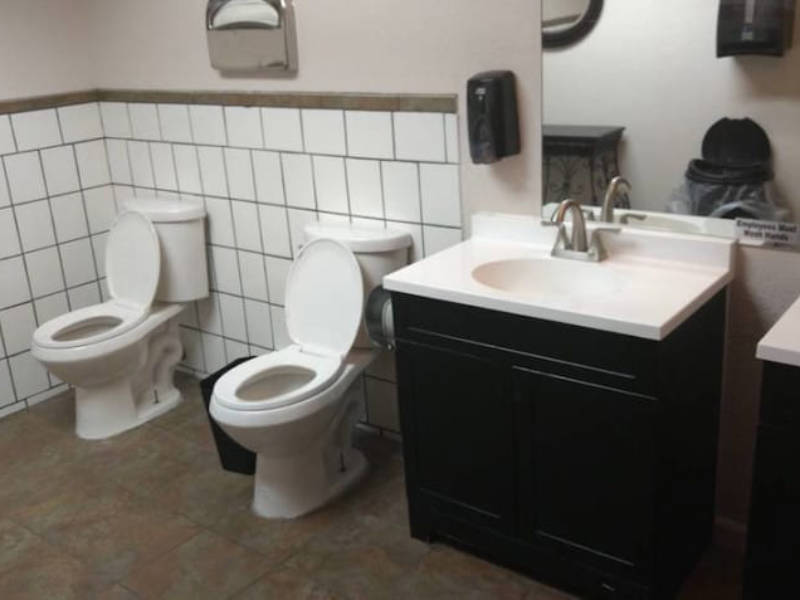 Double toilets are a thing, for some reason.