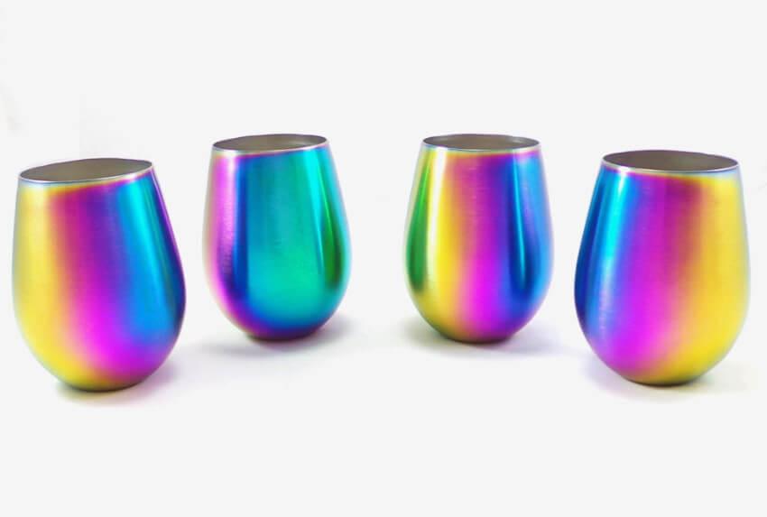Iridescent wine glasses.