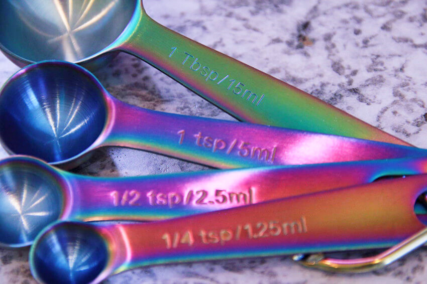 Iridescent measuring spoons.