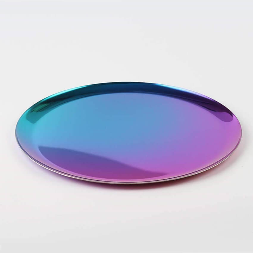 Iridescent round serving platter.
