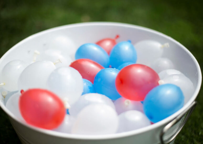 A water balloon fight on a hot day will be really fun.
