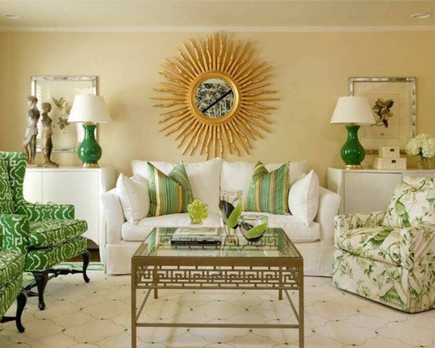DIY interior decor:Combining gold and green is becoming a bigger trend this year. Using different shades of green combined with the perfect shine with gold accents will make your home brighter and more inviting.