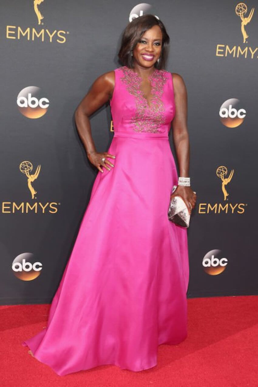 Painting ideas: Viola Davis rocked the red carpet in this gorgeous fuschia Marchesa that is getting mixed reviews from the fashion police.