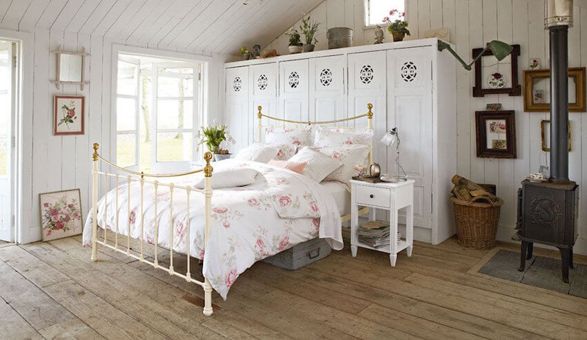 DIY: Adding aspects of floral in your decor on your bed or wall hangings mixed with rustic themed decor and neutral colors makes for a perfectly balanced room.