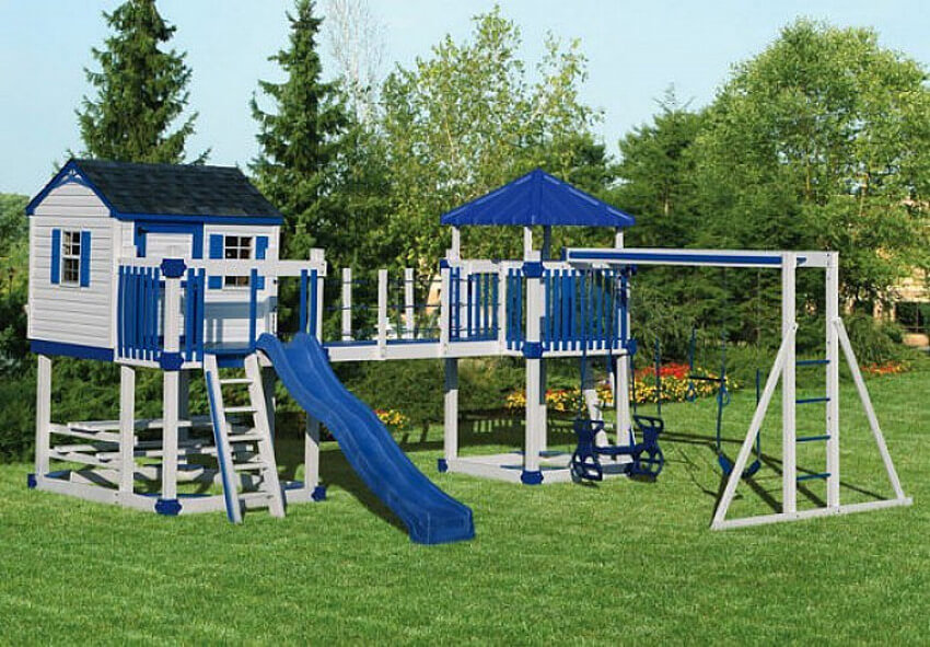 A big playground in the backyard.