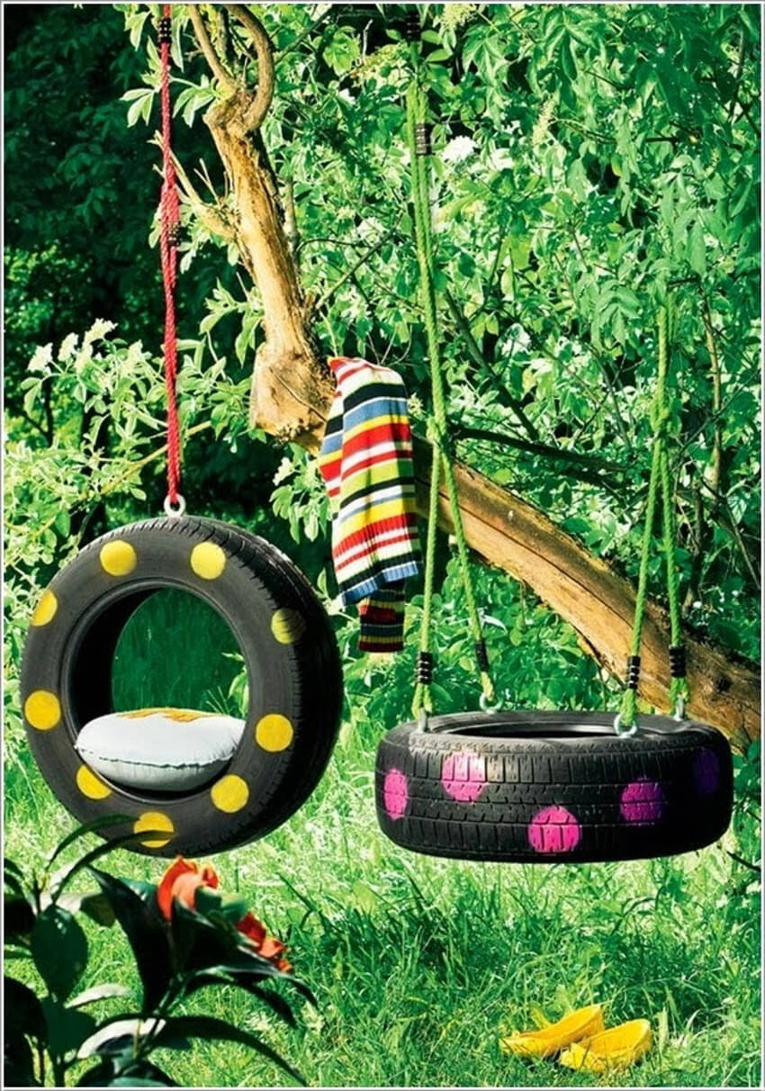 Painted tire swing.