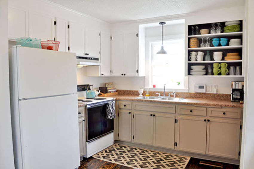 The added trims, open shelving and lighter colors completely transformed this kitchen.