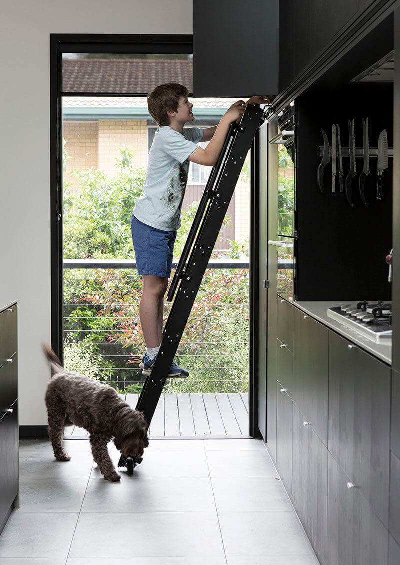 A rolling kitchen ladder can make everything more accessible