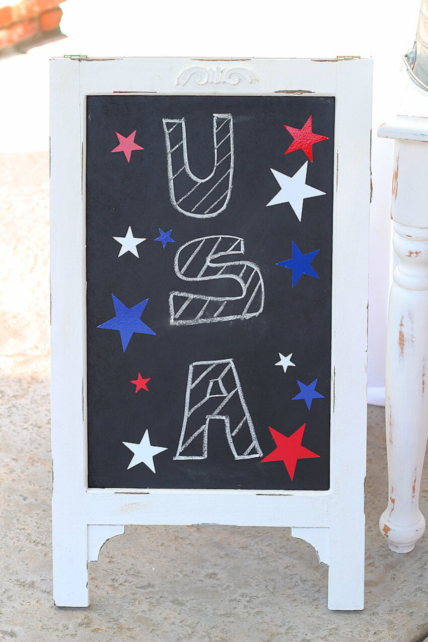 A chalkboard is simple to use and reuse once the holiday is gone.