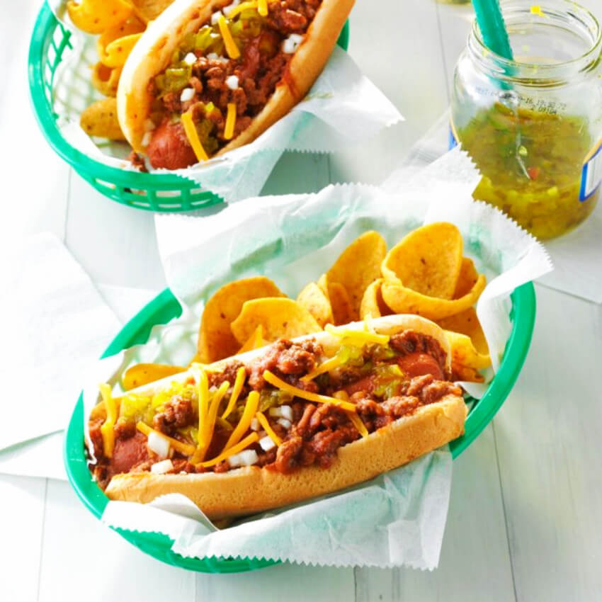 Chili dogs are delicious and easy to make.