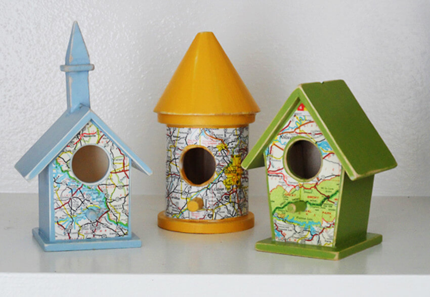 Bird houses and feeders make the landscape incredible.