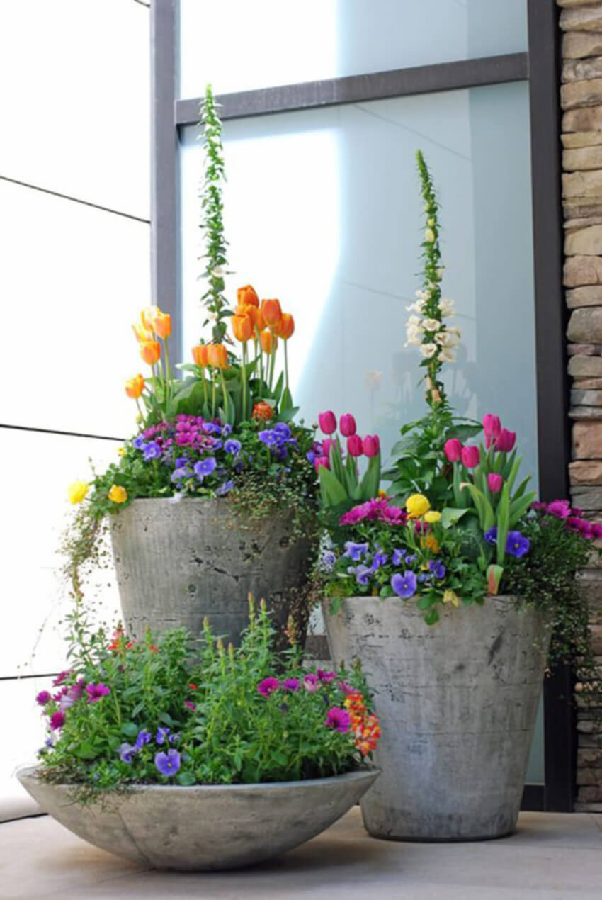 Concrete planters add character to your landscape.