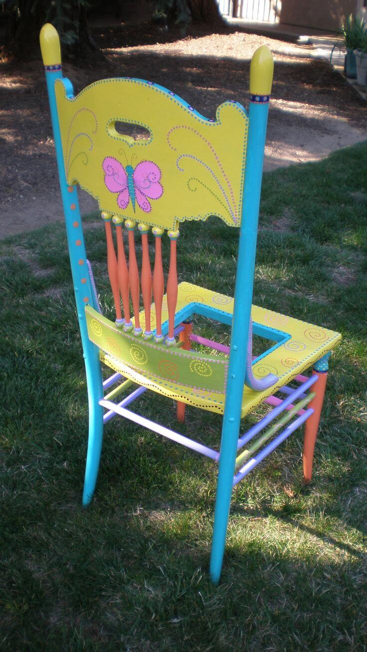 Brightly colored chairs can take the place of flowers