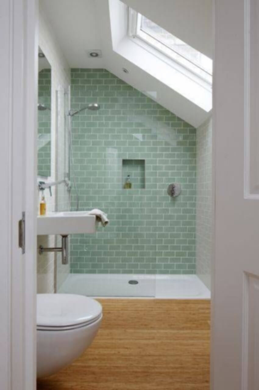 What about this mix and match of tile walls and bamboo floor?
