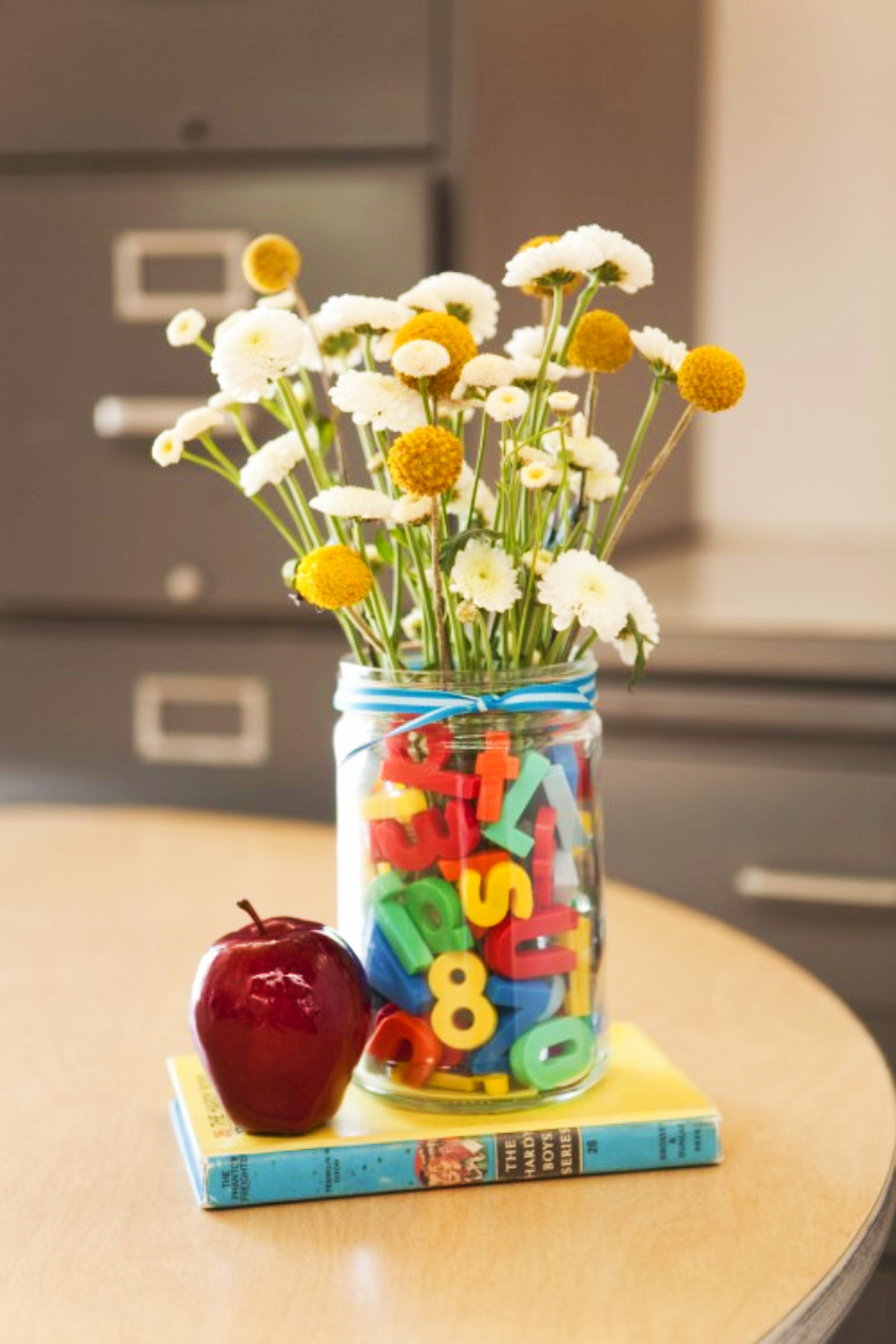 A simple jar  with flowers for teacher is adorable!
