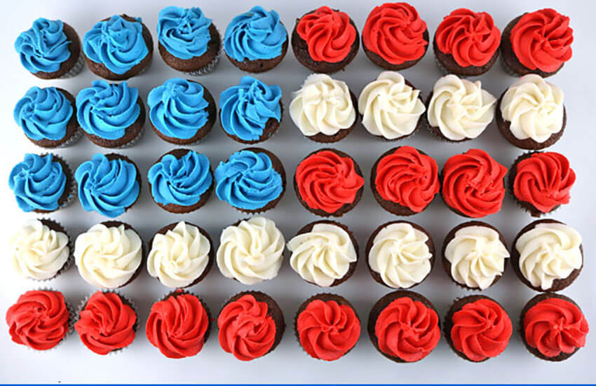 Add food coloring to the frosting to make the flag design!