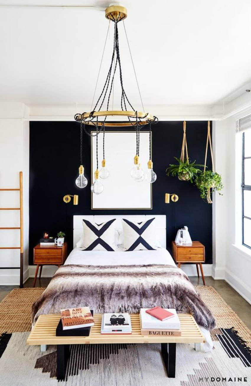 A millennium decor is perfect to match a black accent wall!