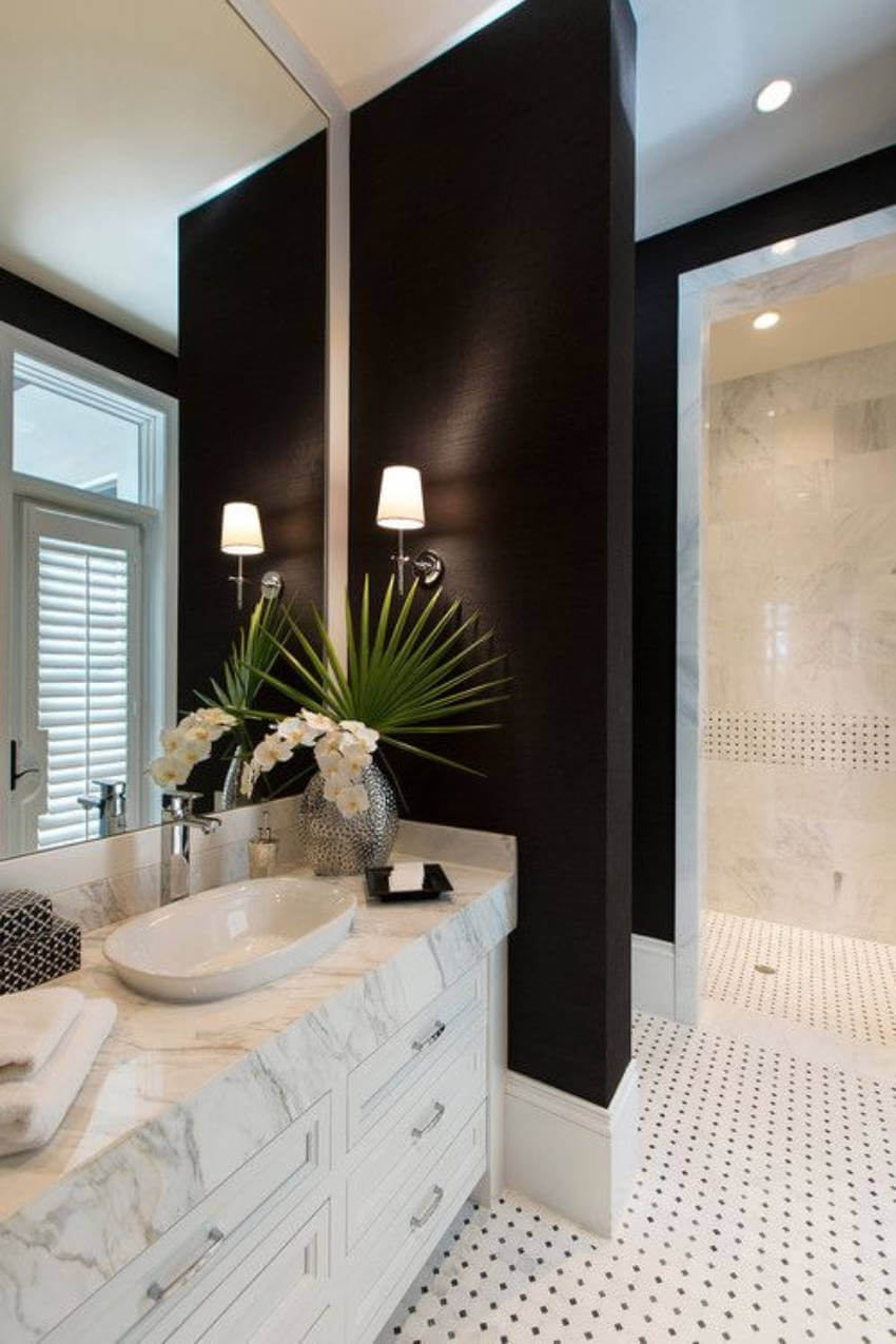 Give your bathroom a fancy look with black walls!