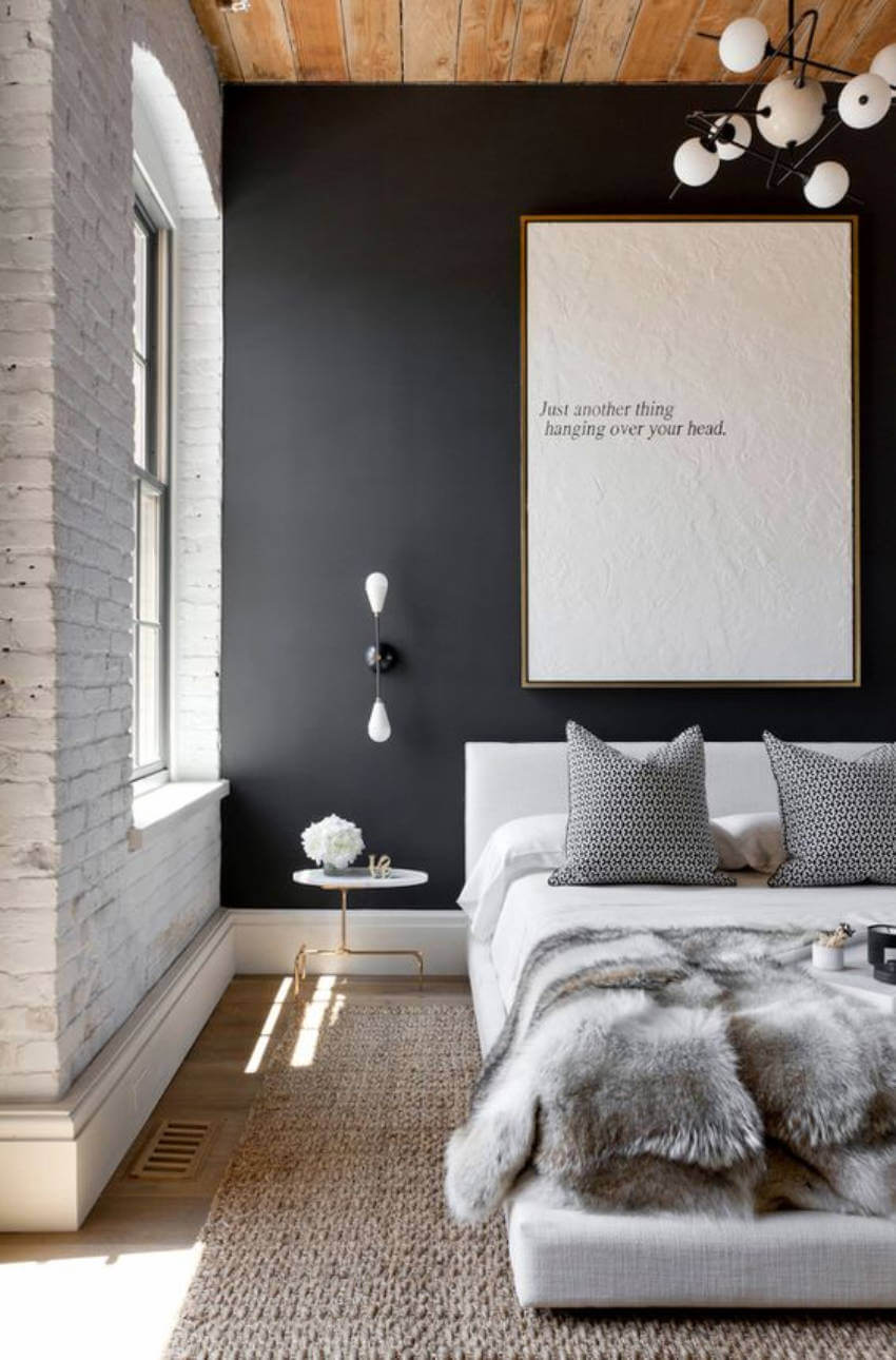 Make a comfortable space with black walls in a well lit room!