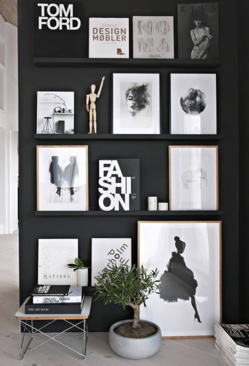Black walls with a gallery wall art look amazing!