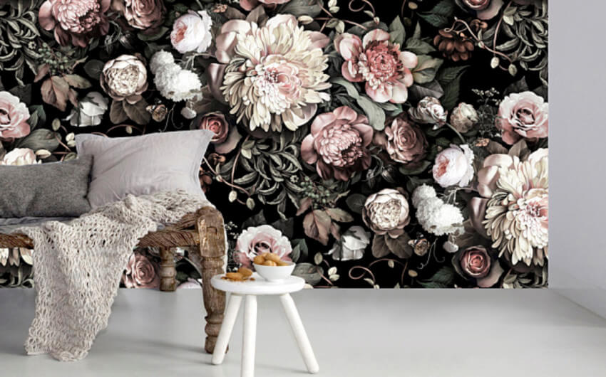 Dark walls are gorgeous, go bold and try a three-dimensional flowers wallpaper.